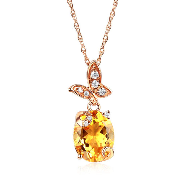 14K Rose Gold 2 Ct Citrine Butterfly Pendant Necklace 0.17 Ct Diamond