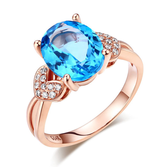 14K Rose Gold Wedding Engagement Ring 3.5 Ct Swiss Blue Topaz & Natural Diamond