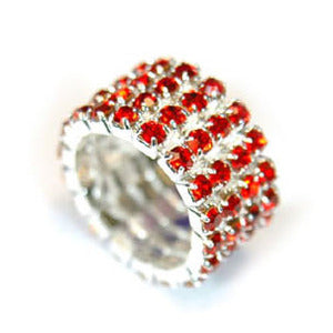 4 Row Red Stretch Bridal Fashion Rhinestone Ring XR917