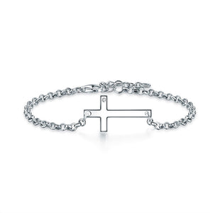 Solid 925 Sterling Silver Bracelet Cross Religious and Wedding Gift Classic XFB8007