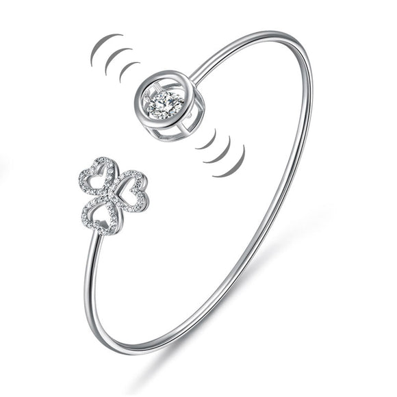 Dancing Stone 3 Hearts Flower Bangle Solid 925 Sterling Silver Bridal Wedding XFB8018