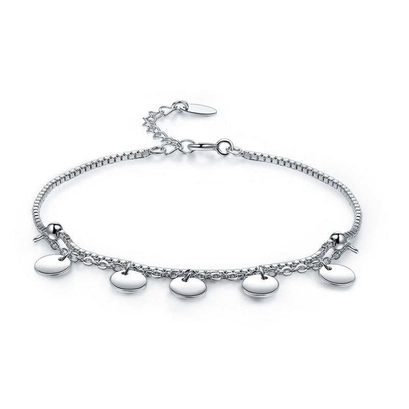 Solid 925 Sterling Silver Bracelet Dangle Circle Fashion Bridesmaid Wedding Gift XFB8021