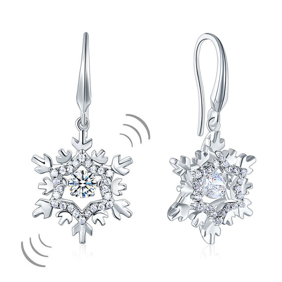 Classic Dancing Stone Dangle Drop Earrings Snowflake Solid 925 Sterling Silver Wedding Gift XFE8132
