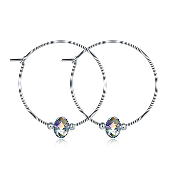 Top Quality 925 Sterling Silver Hoop Earrings AB Austrian Crystal Party Birthday Gift XFE8136