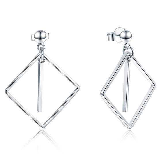925 Sterling Silver Earrings Dangle Square Fashion Stylish Jewelry XFE8139