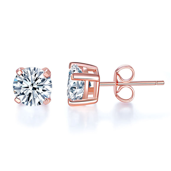 1 Carat Created Diamond Stud Earrings 925 Sterling Silver Rose Gold Plated  XFE8151