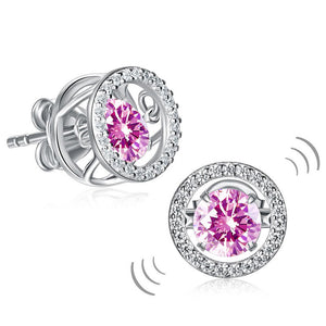 Dancing Pink Stone Stud Earrings 925 Sterling Silver XFE8170