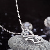 Swan Pendant Necklace 925 Sterling Silver Jewelry Created Diamond XFN8061
