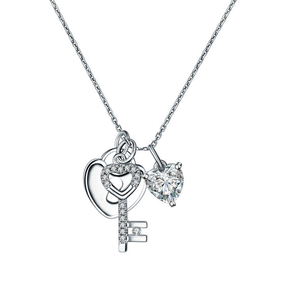 Love Heart Lock Key Solid 925 Sterling Silver Pendant Necklace 1.5 Carat Created Diamante Lady XFN8083