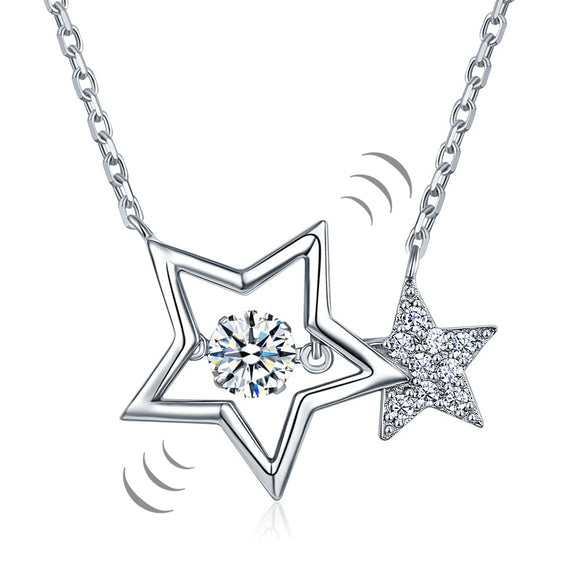 Dancing Stone Stars Necklace 925 Sterling Silver  XFN8090