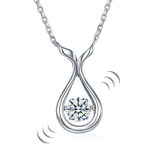 Dancing Stone Water Drop Necklace 925 Sterling Silver Simple Elegant XFN8091