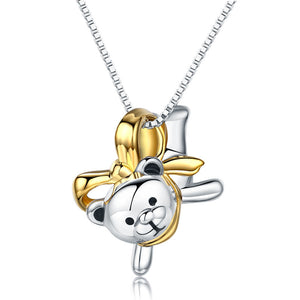 Lovely Bear Pendant Necklace 925 Sterling Silver Birthday Good Handcraft Gift XFN8102