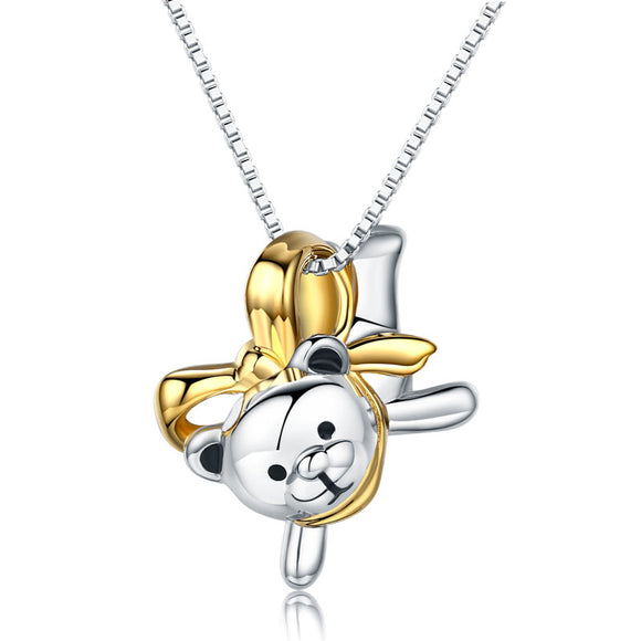 Lovely Bear Pendant Necklace Solid 925 Sterling Silver Birthday Good Handcraft Gift XFN8102