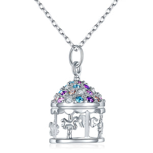 Multi-Color Merry-Go-Round Pendant Necklace Solid 925 Sterling Silver Jewelry