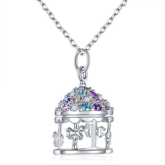 Multi-Color Merry-Go-Round Pendant Necklace Solid 925 Sterling Silver XFN8112