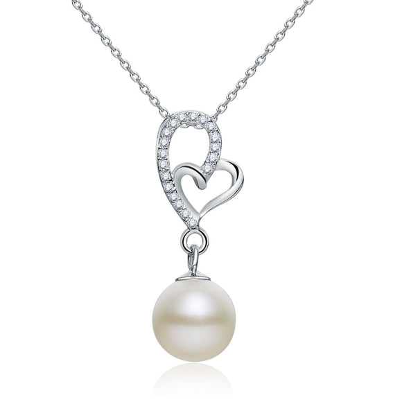 Fresh Water Pearl Heart Necklace 925 Sterling Silver XFN8120