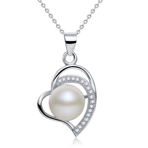 Fresh Water Pearl Heart Necklace 925 Sterling Silver XFN8121