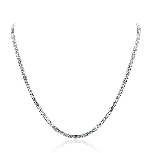 Men's Solid Silver Necklace 990 Pure Silver Cuban Link Chain XFN8133