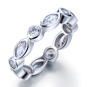 Marquise Solid 925 Sterling Silver Ring Eternity Band Wedding Jewelry XFR8140