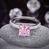 1.5 Ct Fancy Pink Created Diamond 925 Sterling Silver Wedding Ring Promise Anniversary XFR8246