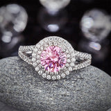 Double Halo 925 Sterling Silver Wedding Engagement Ring 1.25 Ct Fancy Pink Created Diamond Promise Anniversary XFR8252