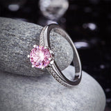 6 Claws 925 Sterling Silver Wedding Promise Anniversary Ring 1.25 Ct Fancy Pink Created Diamond Jewelry XFR8256