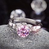 Flower 925 Sterling Silver Wedding Promise Anniversary Ring 1.25 Ct Fancy Pink Created Diamond Jewelry XFR8258