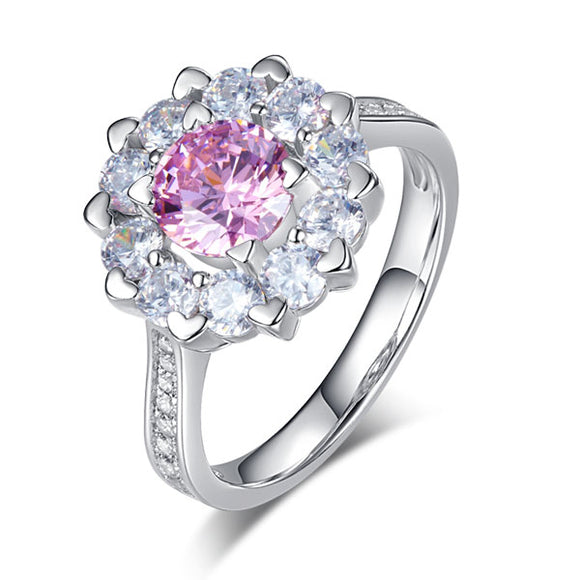 Snowflake 925 Sterling Silver Wedding Promise Anniversary Ring 1 Ct Fancy Pink Created Diamond XFR8264