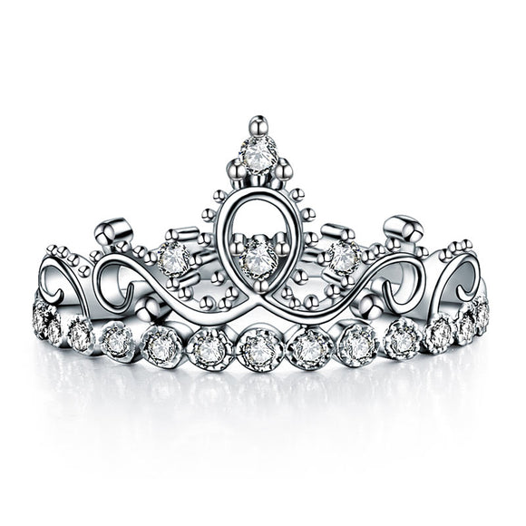Solid 925 Sterling Silver Ring Crown Shape CZ for Lady Trendy Stylish XFR8275