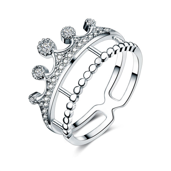 Solid 925 Sterling Silver Ring Crown Shape CZ for Lady Trendy Stylish Jewelry XFR8277