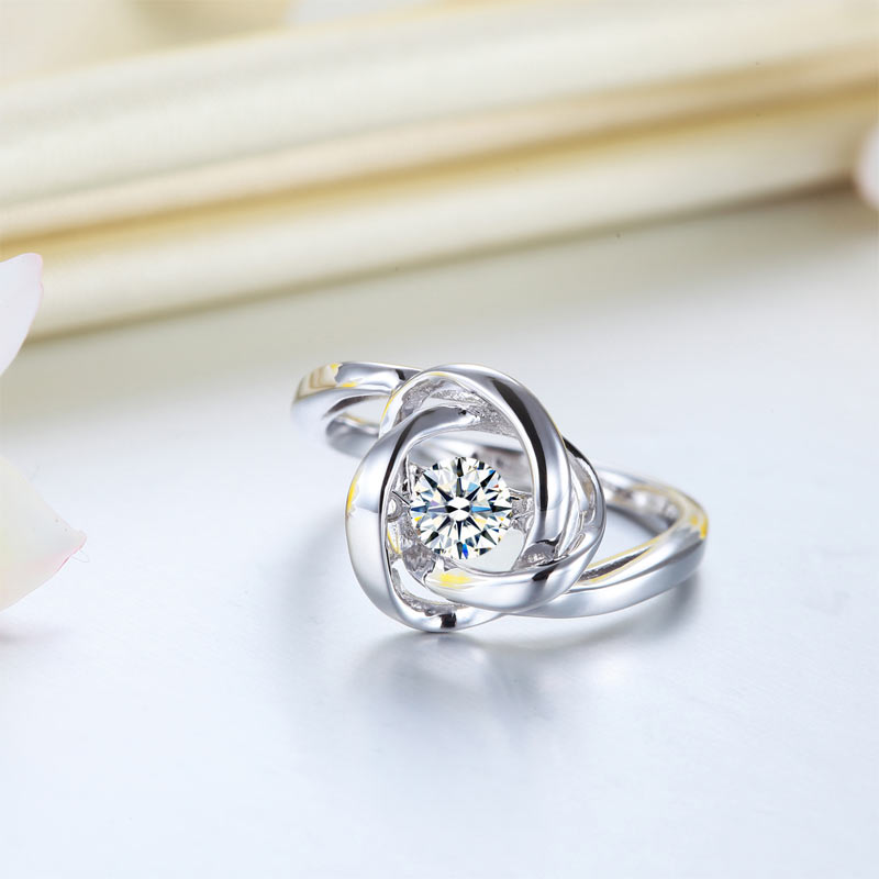 Dancing Stone Woven Solid 925 Sterling Silver Ring 2017 New Style ...