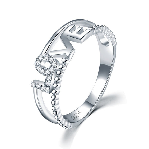 Solid 925 Sterling Silver Ring Band Fashion LOVE 2018 New Style for Girls / Ladies XFR8301