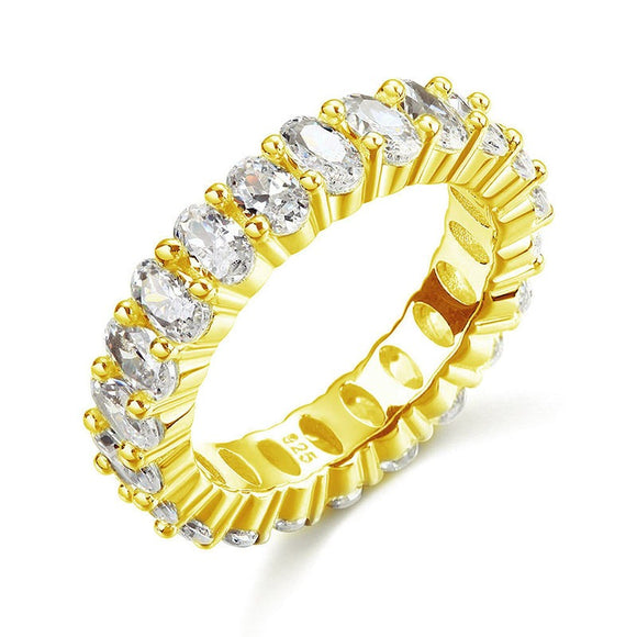 Oval Cut Eternity Solid Sterling 925 Silver Yellow Gold Plated Wedding Ring Band Jewelry XFR8327