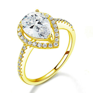 2 Ct Pear Cut Ring Sterling 925 Silver Yellow Gold Plated Wedding Promise Anniversary Engagement Jewelry XFR8329
