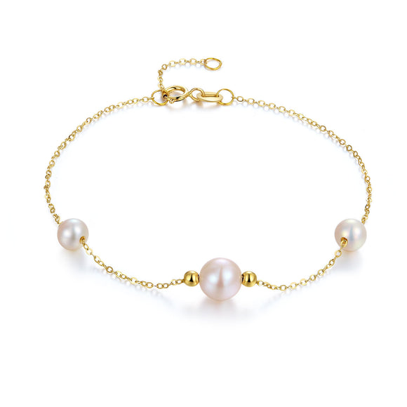 18K/ 750 Yellow Gold Pearl Bracelet KB7002