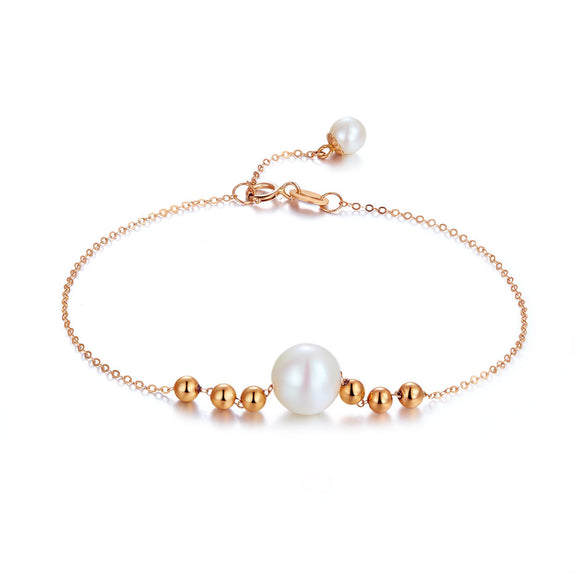 18K/ 750 Rose Gold Pearl Bracelet KB7003