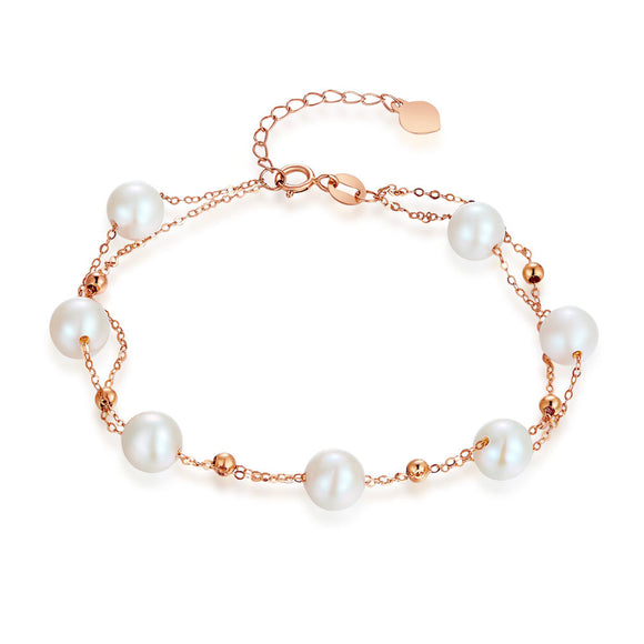 18K/ 750 Rose Gold 7 Pieces Pearls Bracelet (7 Piece Pearls)