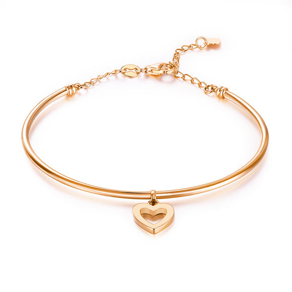 Solid 18K/750 Rose Gold Hollow Heart Bangle KB7007