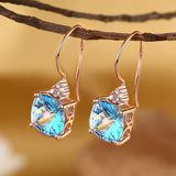 14K Rose Gold Cushion 2.5 Carat Swiss Blue Topaz Earrings 0.07 Ct Natural Diamonds KE7017