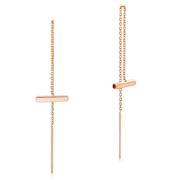 Solid18K/750 Rose Gold Long Line Dangle Stylish Earrings Dropship Gold Jewelry