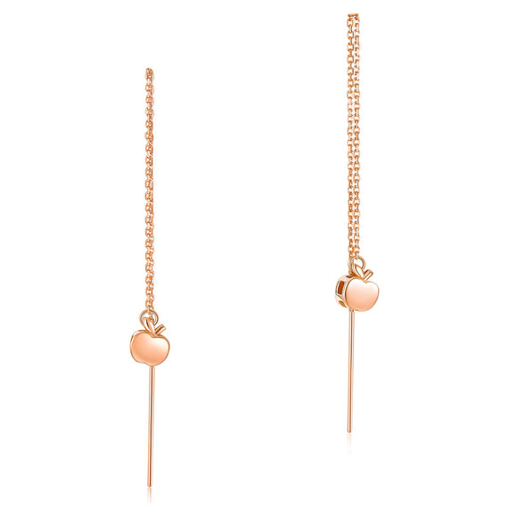 Solid 18K/750 Rose Gold Long Line Apple Dangle Earrings
