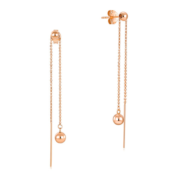 Solid 18K/750 Rose Gold Dangle Ball 2 -way of Wearing Earrings