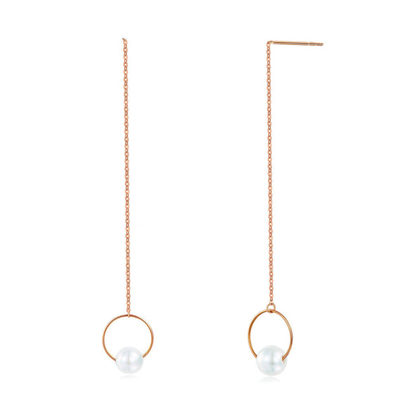 18K/750 Rose Gold Long Line Earrings Pearl 6 mm KE7055
