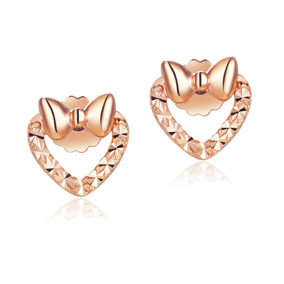 Solid 18K/750 Rose Gold Heart Shape Ribbon Stud Earrings