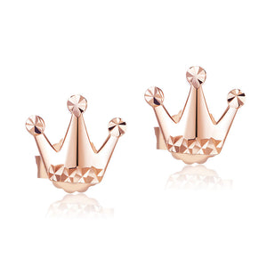 Solid 18K/750 Rose Gold Cutie Crown Stud Earrings