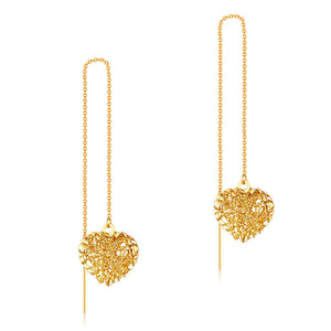 Solid 18K/750 Yellow Gold Long Line Heart Dangle Earrings