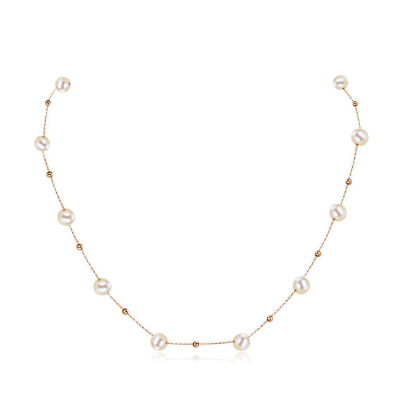 18K/ 750 Rose Gold Pearls Necklace
