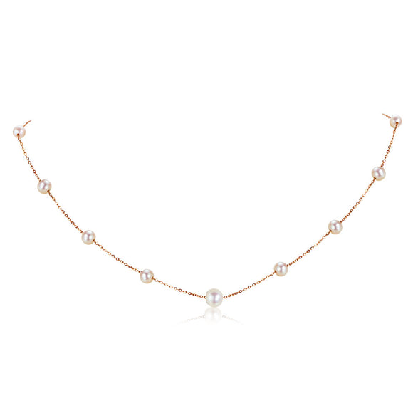 18K/ 750 Rose Gold Pearls Necklace KN7073
