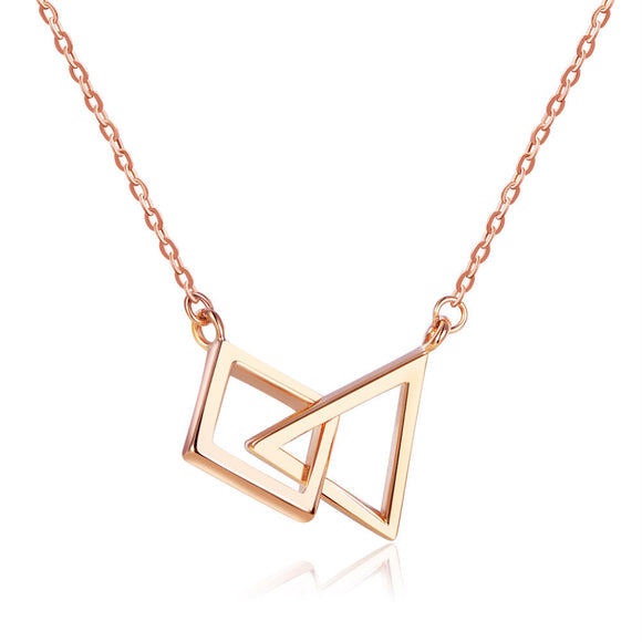 Solid 18K/750 Rose Gold Geometric Necklace