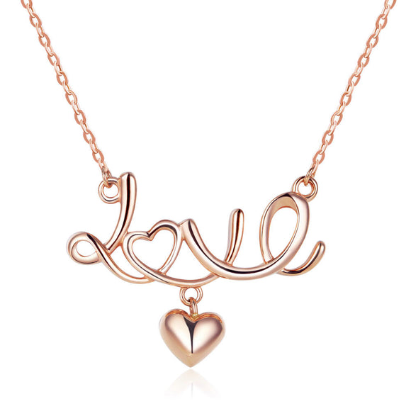 Solid 18K/750 Rose Gold  Love Letter Heart Necklace